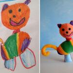 "Gato juguetón - Dibujos de Niños convertidos en ""Juguetes de Peluches"""