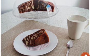 Banana & chocolate zebra cake